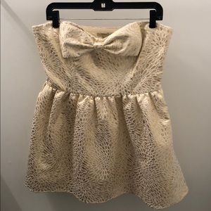Never worn! Gold and cream party dress